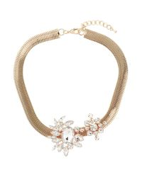 Mikey | Metallic Flat Woven Chain Crystal Necklace | Lyst