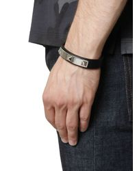 Valentino | Black Rhodium Studs On Leather Bracelet for Men | Lyst