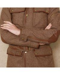Ralph Lauren Blue Label Brown Leather-Trim Tweed Jacket