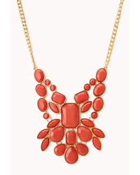 Forever 21 | Orange Statement Faux Stone Bib Necklace | Lyst