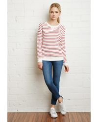 Forever 21 - Natural Striped French Terry Sweater - Lyst