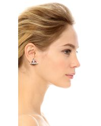 Vivienne Westwood Red Diamante Heart Earrings - Silver