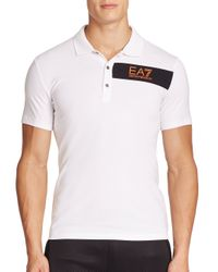 EA7 - White Striped Polo for Men - Lyst