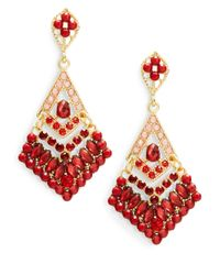Catherine Stein | Red Stone Chandelier Earrings | Lyst