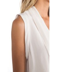 Halston White V Neck Drapey Top