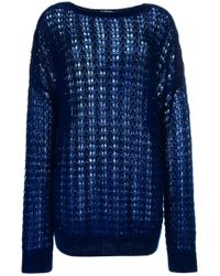 Saint Laurent Blue Embellished Knitted Sweater