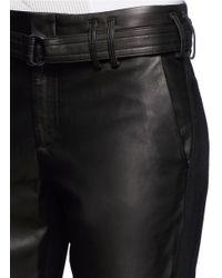 Vince Black Leather Front Jogging Pants