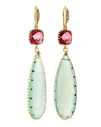 Indulgems | Multicolor Crystal Aqua Chalcedony Teardrop Earrings | Lyst