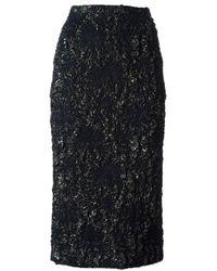 Rochas Blue Brocade Pencil Skirt