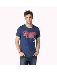 Tommy Hilfiger - Blue Cotton Blend Printed T-shirt for Men - Lyst
