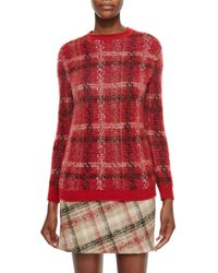 Carven - Pink Checked Knitted Sweater - Lyst