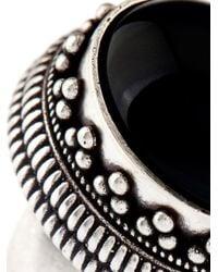 Saint Laurent - Black Boîte Silver And Quartz Hinged Ring - Lyst