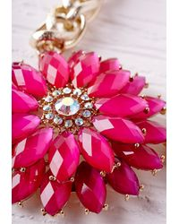 Missguided | Statement Floral Necklace Pink | Lyst