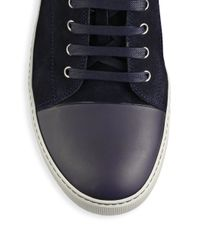 Lanvin - Blue Classic Mixed Media Leather & Rubber Sneakers for Men - Lyst