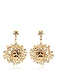 Versus - Metallic Rhinestone & Gold Plated Lion Earrings - Lyst