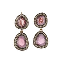 Munnu - Pink Mixed-gemstone Double-drop Earrings - Lyst