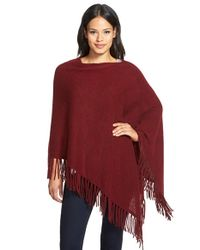White + Warren | Red Two-way Fringe Cashmere Poncho | Lyst