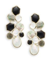 Ippolita   Metallic Polished Rock Candy Onyx, Shell, Mother-of-pearl & 18k Yellow Gold Mosaic Earrings   Lyst
