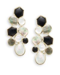 Ippolita | Metallic Polished Rock Candy Onyx, Shell, Mother-of-pearl & 18k Yellow Gold Mosaic Earrings | Lyst