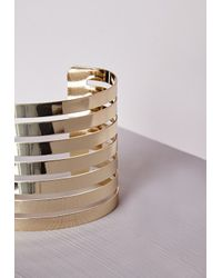Missguided - Metallic Rounded Cut Out Cuff Gold - Lyst
