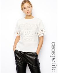 ASOS - White Exclusive Shell Top With Laser Cut - Lyst