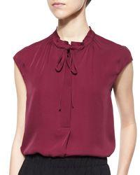 Vince Red Silk Cap-sleeve Tie-neck Blouse