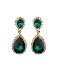 Mikey - Green Twin Oval Stone Marquise Dop Earring - Lyst
