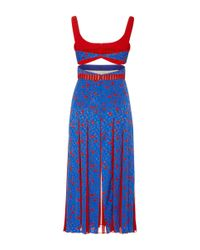 J. Mendel Blue Calla Lily Crepe De Chine Balconette Dress