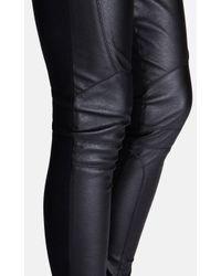 Karen Millen - Black Faux Leather Jersey Legging - Lyst