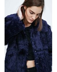 Cheap Monday Blue Furious Faux Fur Jacket In Navy