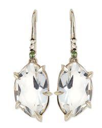 Alexis Bittar Fine Metallic Quartz Drop Earrings With Claw Sapphires & Diamonds