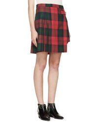 Versus Green Asymmetric Plaid Skirt