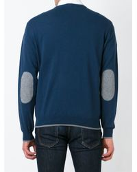 Armani Jeans - Blue Mesh Patch Round Neck Sweater for Men - Lyst
