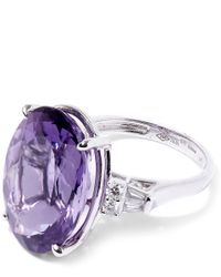 Kojis - Purple White Gold Amethyst Diamond Shoulder Ring - Lyst