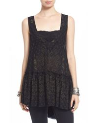 Free People | Black 'say It With A Layer' Flowy High/low Tank | Lyst