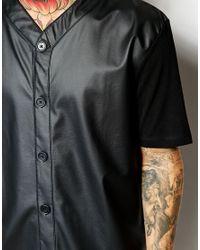 ASOS Black Super Longline T-Shirt In Leather Look Baseball Style for men