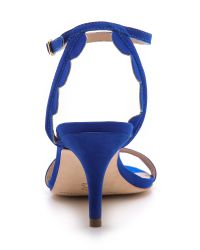 Loeffler Randall Blue Lillit Scalloped Kitten Heel Sandals