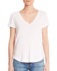 Splendid | White Vintage Whisper V-neck Tee | Lyst