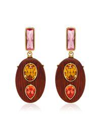 Oscar de la Renta - Brown Crystal & Wood Earrings - Lyst