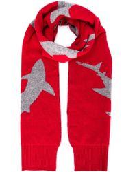 Christopher Raeburn Red Shark Intarsia Scarf for men