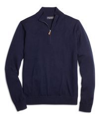 Brooks Brothers | Blue Saxxon Wool Half-zip Sweater for Men | Lyst