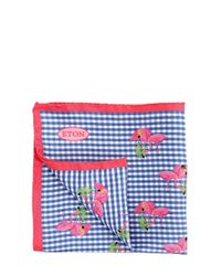 Eton of Sweden - Blue Flamingo Print Silk Satin Pocket Square - Lyst