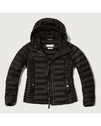 Abercrombie & Fitch - Black A&f Down Series Hooded Lightweight Puffer Jacket - Lyst