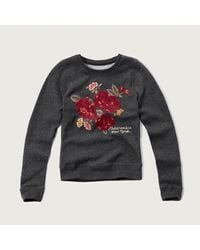 Abercrombie & Fitch - Gray Embroidered Graphic Sweatshirt - Lyst