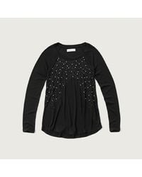 Abercrombie & Fitch | Black Beaded Knit With Shine | Lyst