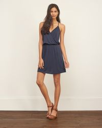 Abercrombie & Fitch - Blue Drapey Wrap Front Dress - Lyst