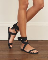 Abercrombie & Fitch - Black Wrap Bow Sandals - Lyst