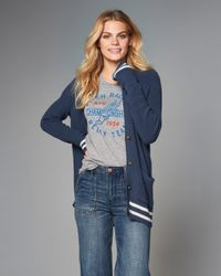 Abercrombie & Fitch - Blue Logo Pocket Cardigan - Lyst