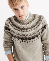 Abercrombie & Fitch   Brown Nordic Pattern Crew Sweater for Men   Lyst