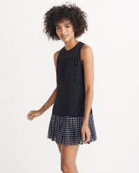 Abercrombie & Fitch - Blue Mixed Print Drop Waist Dress - Lyst